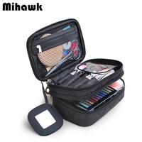 Double Layer Cosmetic Bag With A Mirror Travel Organizer Functional Makeup Pouch Toiletry Brush Vanity Case