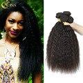 Hot Selling Brazilian Yaki Human Virgin Hair 4 Bundles Corse Yaki Virgin Hair Kinky Straight 6A Human Hair Weaves On Sale