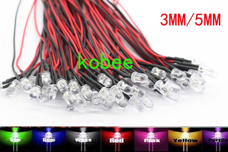 50pcs 3mm Pure Green LED Pre Wired 12V DC Lights Bulb Lamp Led Light 20cm Wires