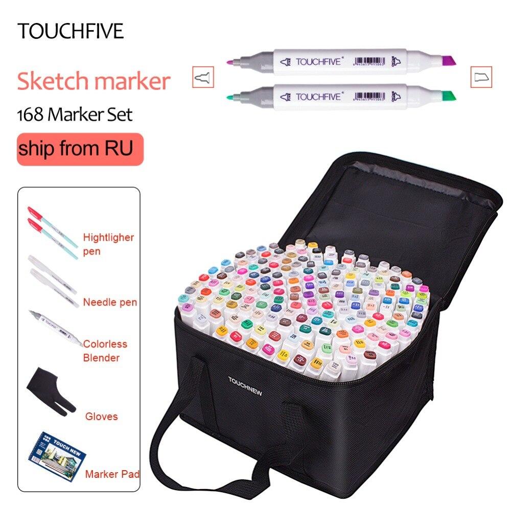 touchfive marcador 40 60 80 168 cores caneta escova alcoolica oleosa baseada tinta marcador de arte