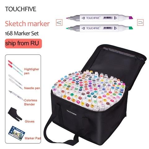 touchfive marcador 40 60 80 168 cores caneta escova alcoolica oleosa baseada tinta marcador de