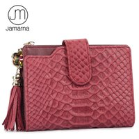 Jamarna JM Genuine Leather Alligator Short Women Wallet Tassels Female Purse Credit Card ID Holder Zipper