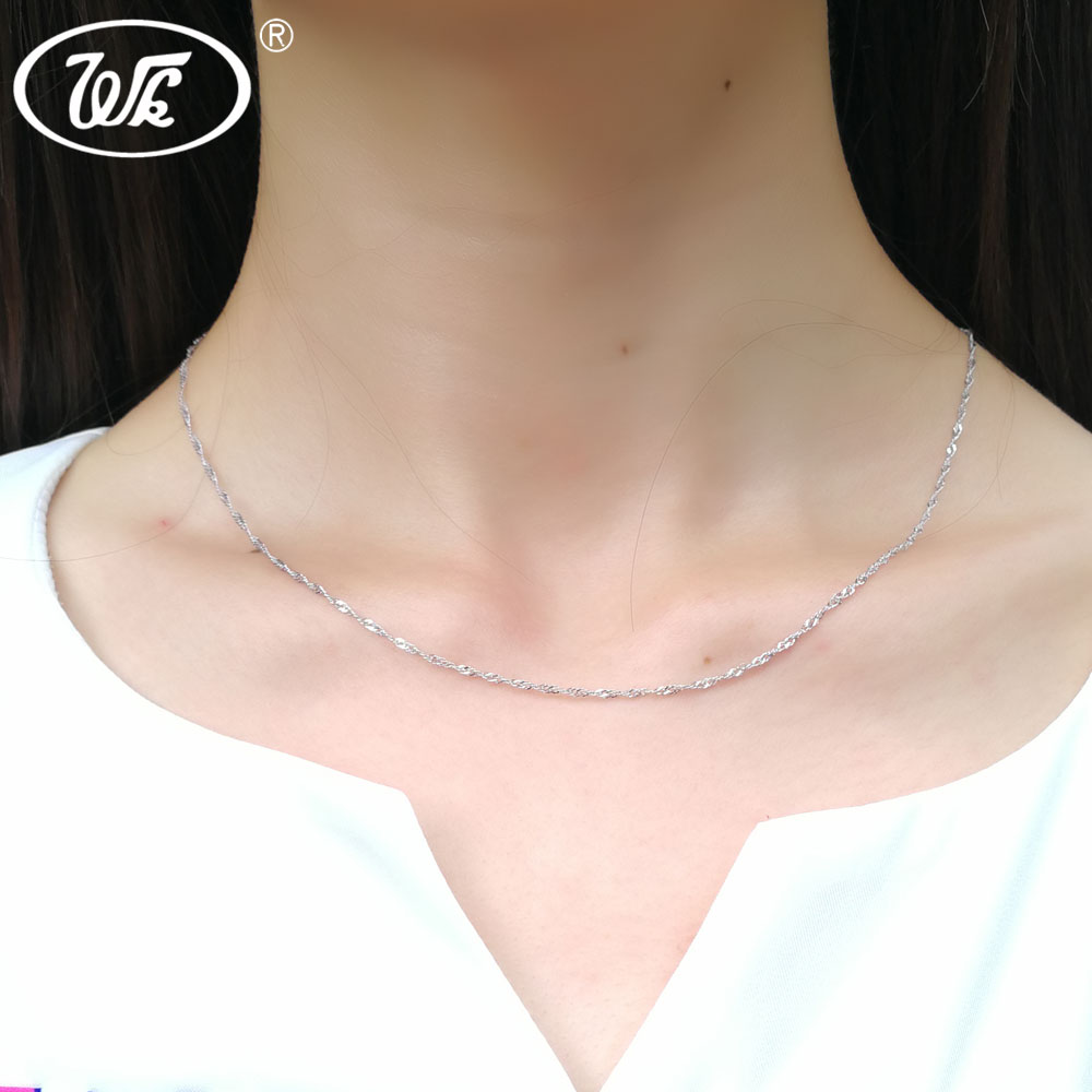 in from chain necklaces slim twist thin wk girls women luxury ladies necklace diy rope choker item silver solid jewelry
