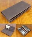 Vintage Crazy Horse Genuine leather wallet Men long clutch Bag Leather male wallet Purse Coin Bag Money Clip Brown WF109