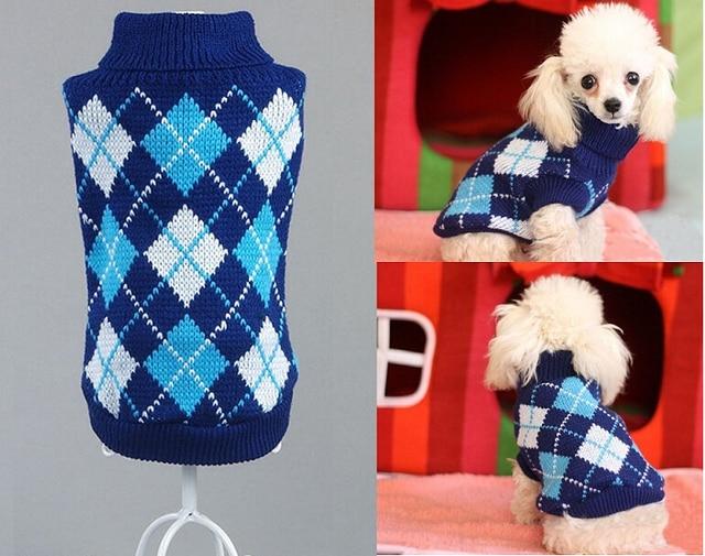En forma de diamante perro suéter Jumper knit abrigo perro suéter ...