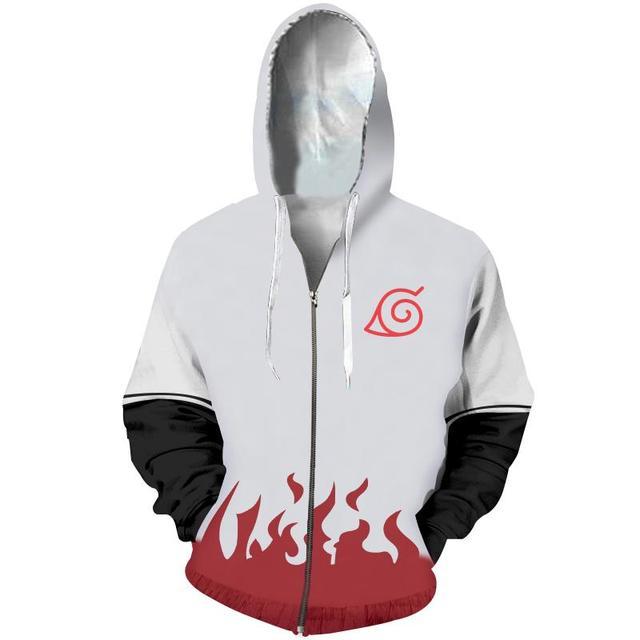 Naruto 3D Print Red Long sleeve Hoodie