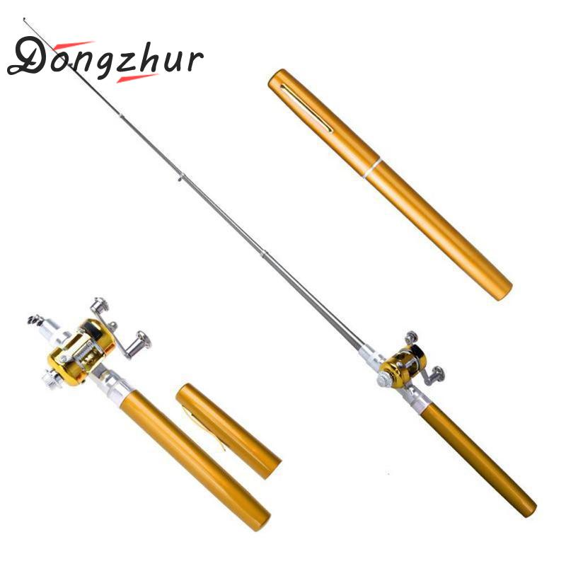 Mini Portable Fishing Rod Pole With Pole Reel Aluminum Alloy Pocket Pen Shape Fish Plastic Fishing Reel Fishing Rod Spinning