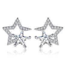 100% Стерлинговое Серебро 925 пробы модные блестящие Кристальные