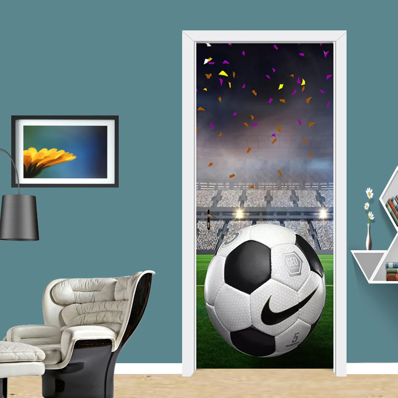 Self-Adhesive Door Sticker 3D Football Ground PVC Mural Wallpaper Cartoon Boy's Bedroom Creative DIY Vinyl Stickers Home Design