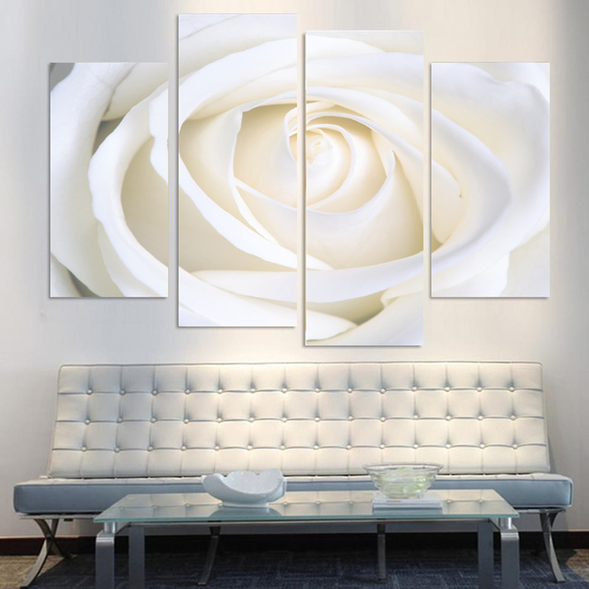4 Piece Home Decor Oil Painting Beautiful Flowers HD Print on Canvas Wall Art Picture for Living Room Christmas Gifts