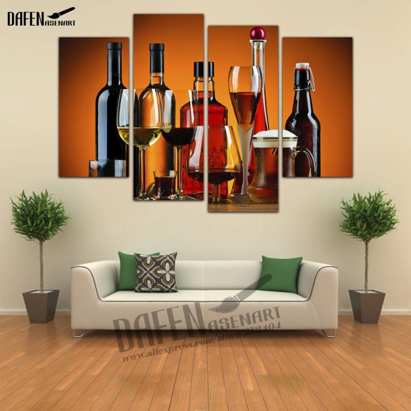 4 Panel framed Painting Liquor <font><b>Alcohol</b></font> Drinks Bottle Glass Cocktail Canvas Print Wall Art Picture for Living Room Home Deco