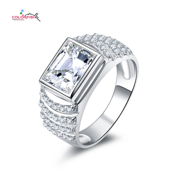colorfish 30 ct square anelli sona cubic zirconia men wedding ring small zircon bague rings 925 - Male Wedding Ring