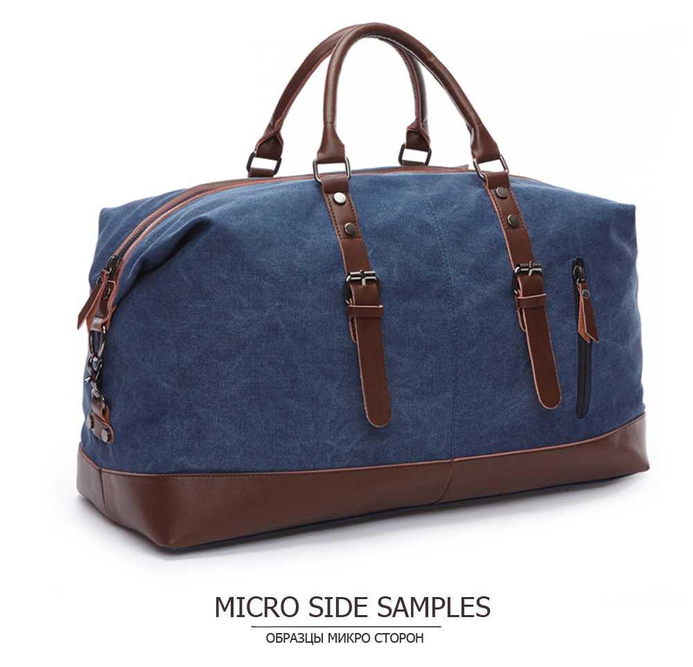 blue navy duffle with leather handles