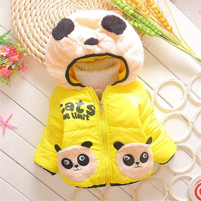 Niñas caramelo de la historieta de la felpa panda Abrigos de invierno otoño marca Algodón de los muchachos abajo chaqueta niños prendas de abrigo con sombrero Precioso