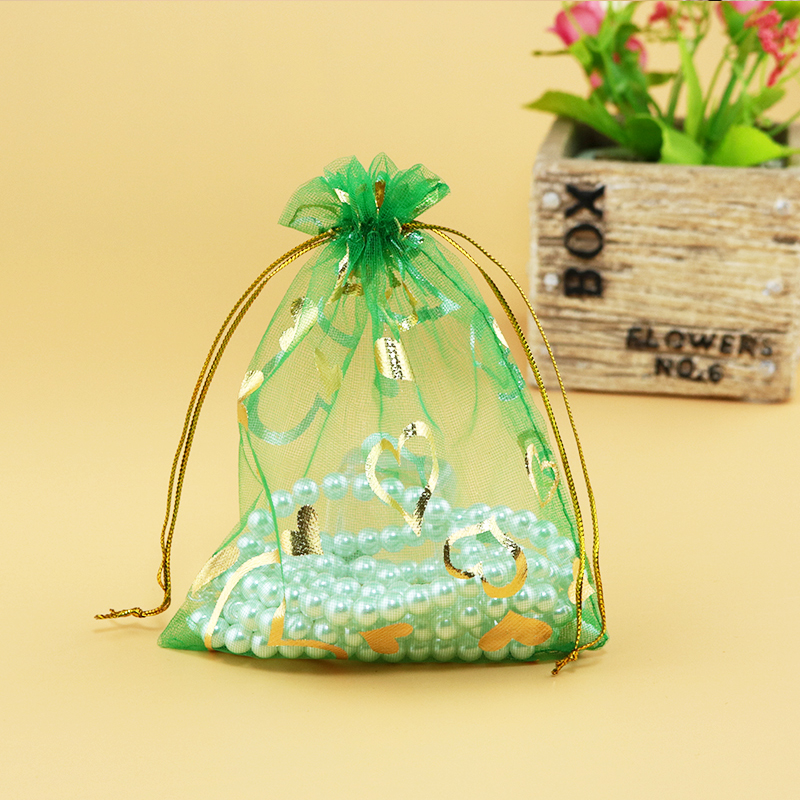 Wholesale 100pcsLot Green Organza Bag 13x18cm Wedding Jewelry Gift Packaging Bag Organza Pouches Heart Drawstring Gift Bags
