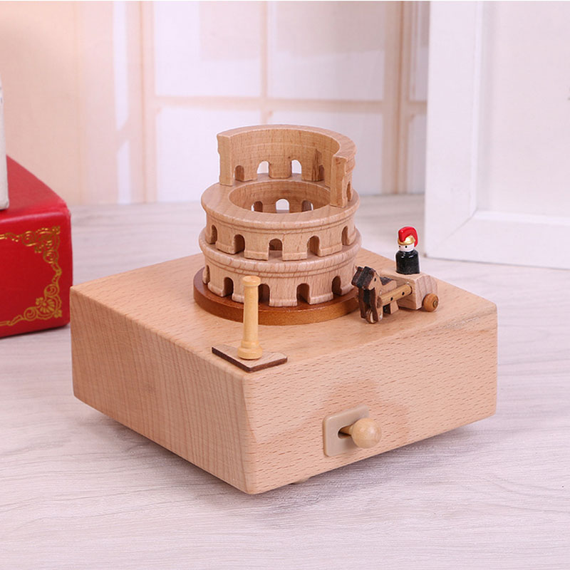 1 Piece New Wood Roman Colosseum Music Ofbox Classic Toy For Children Wind Up Toy Clockwork Handmade Creative Birthday Gifts
