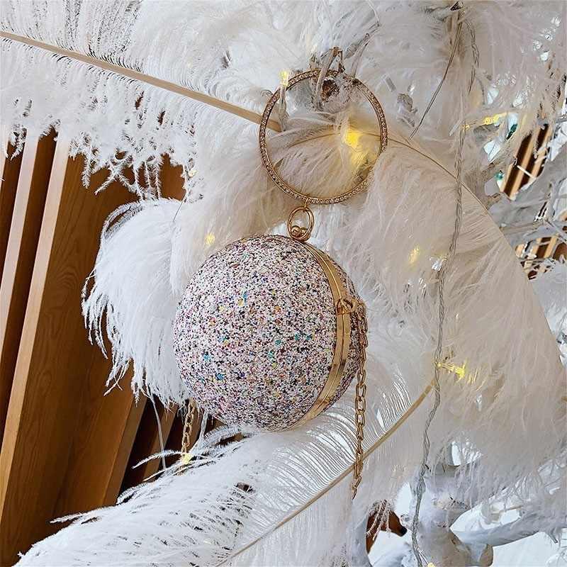 Mode Cirkel Ronde Tas Pailletten Avondtasje Wedding Party Purse Sac Luxe Diamant Schouder Crossbody Tas Voor Vrouwen 2020