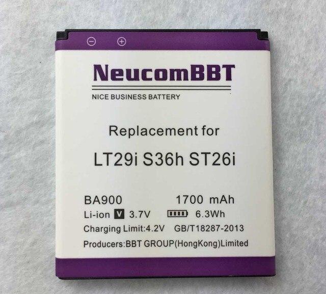 battery BA900 for Sony Ericsson  J LT29i / ST26i / T / TX / GX / LT30  S36h GX C1905 C2105 C2005 C2104 C2105 1700mAh NeucomBBT