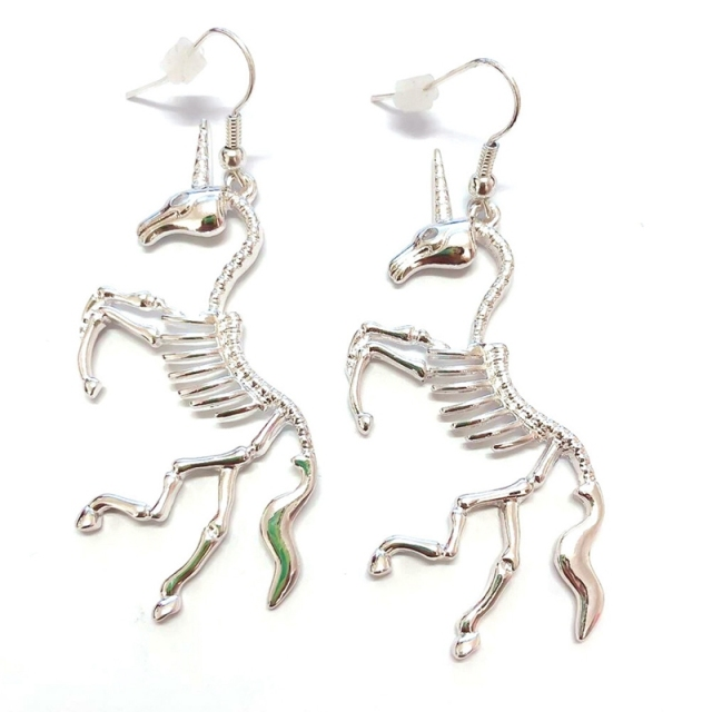 SKELETON SKULL UNICORN EARRINGS