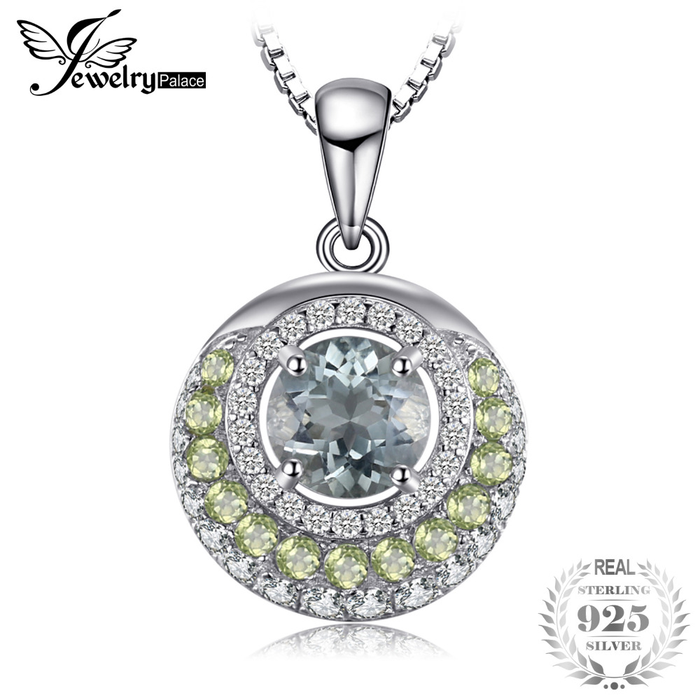 JewelryPalace Genuine 2ct Green Amethyst Peridot Pendant 925 Sterling Silver 18 Inches for Fashion women in Include a Chai