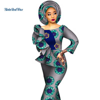 2019 African Dresses for Women Print Draped Straight Long Dresses Vestidos Bazin Riche African Ankara Dresses Clothing WY4291
