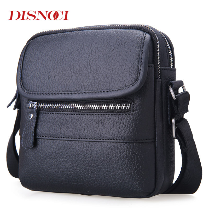 DISNOCI Famous Brand Genuine Leather Men Bags Casual Business Men Messenger Bags Small Mens Crossbody Bag Shoulder Bags