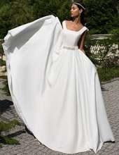 Квадратный вырез дешевые свадебные платья 2020 простой белый