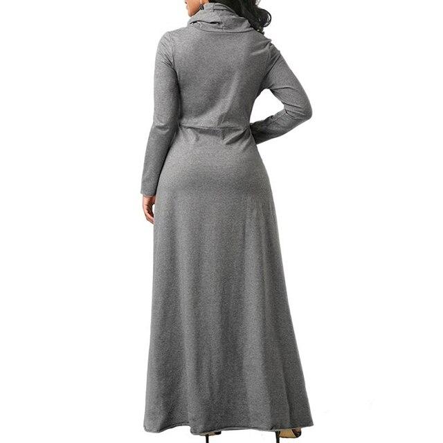 Women Long Sleeve Dress Large Size Elegant Long Maxi Dress Autumn Warm Turtleneck Woman Clothing With Pocket Plus Size Bigsweety 5