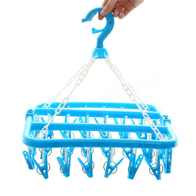 Multifunction 32 Clips Clothes Pegs Foldable Hanging Clothes Drying