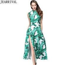 Tropical Print Long Maxi Dress 2017 New Summer Fashion Women Runway Style Sleeveless Stand Collar Split Beach Dress Vestidos