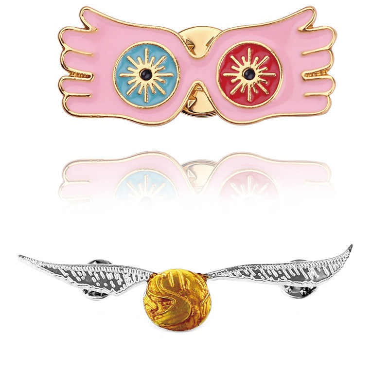 Harried Cosplay Luna Lovegood Glasses Brooch Potters DEATH EATERS Golden Wings Ball Deathly Hallows Metal Badge Pin For Clothes