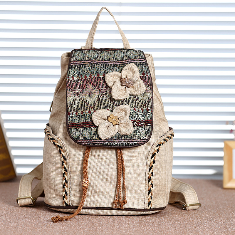 Embroidery Floral Chinoiserie Wemen National Style Bag Weaving Handmade Gray Backpack Travelling Canvas Cotton Linen Khaki