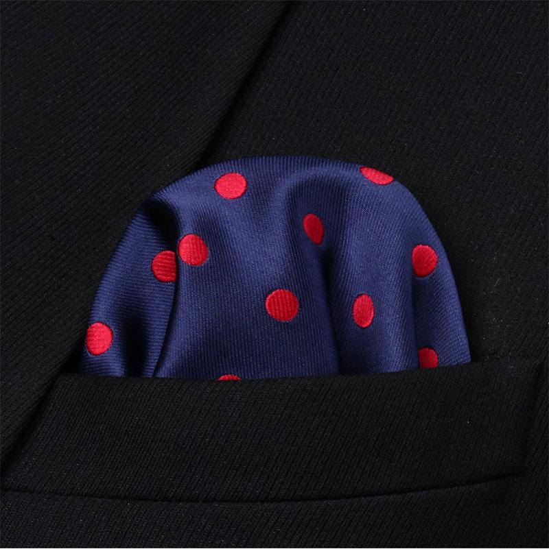 HD704R Red White Polka Dot Men Silk Party Handkerchief Pocket Square Hanky