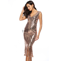 Women Sexy Sequin Sleeveless Long Party Dress Elegant Dress Summer Casual V neck Fringe Slim Club Bodycon Dresses Female 2XL