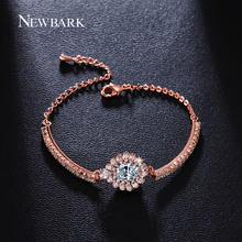 NEWBARK High Quality Bracelets & Bangles Big Oval CZ Simulated Diamond Jewelry Lady Girl Gifts Flower Shaped Model Bracelet
