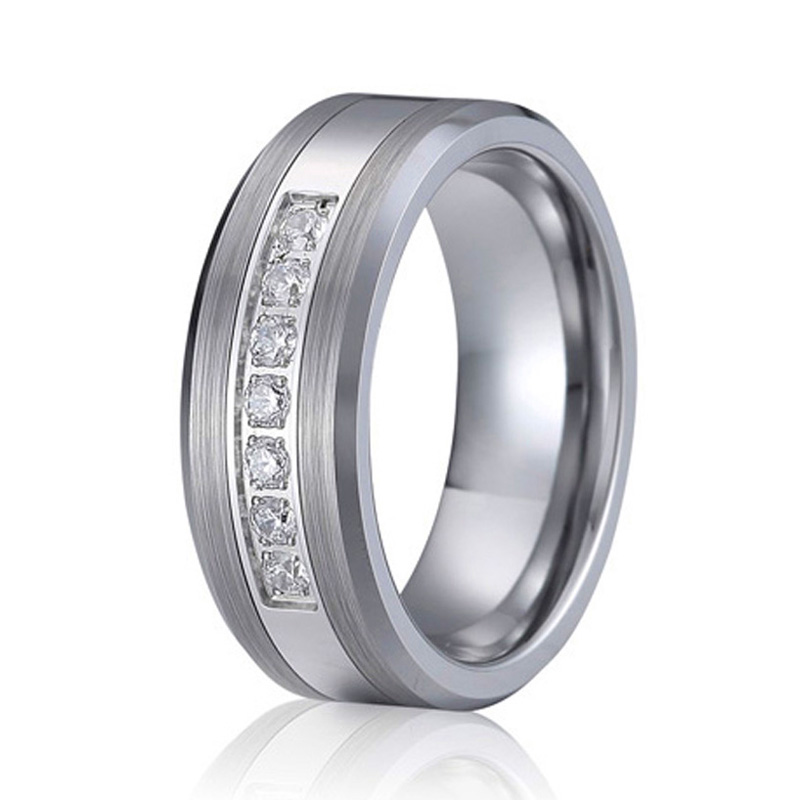 cz diamond titanium wedding band fashion tungsten carbide ring men jewelry two tone never fade silver