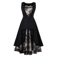 A Line Dress Women Black Print Lace Hollow Waist Slim Party Elegant Sleeveless Mid Calf Fashion