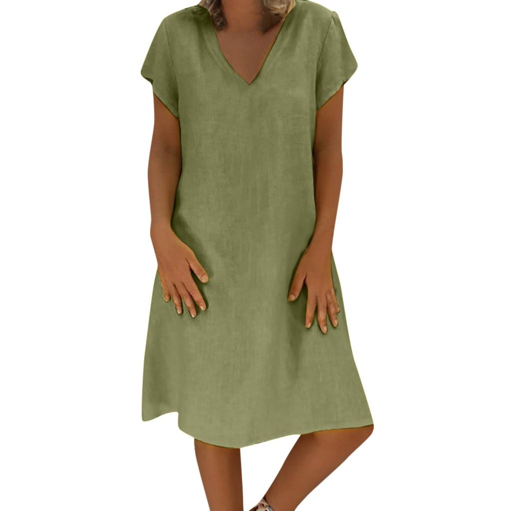 Robe bohème coton lin grande taille vert armée