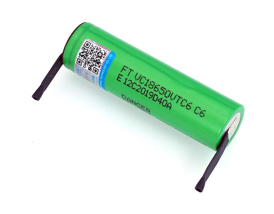 Image 2 - VariCore VTC6 3,7 V 3000 mAh 18650 литий ионная аккумуляторная батарея 30A разрядка VC18650VTC6 батареи + DIY никелевые листы-in Подзаряжаемые батареи from Бытовая электроника