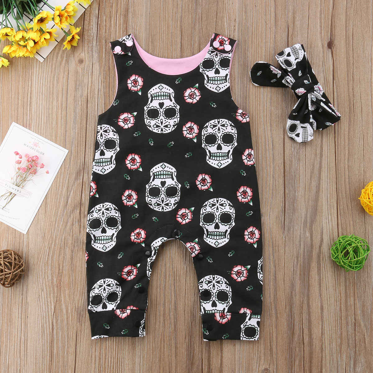 819b0fa62037 ... Halloween Newborn Baby Rompers Boys Girls Skull Flower Romper Jumpsuit  2PCS Outfit Costume Holiday Cute Baby ...