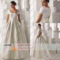 2017 Принцесса Бальное платье Короткие Рукава Атласная Свадебное Платье Vintage Белый Кот Невесты Платья Дешевые Цены На Заказ