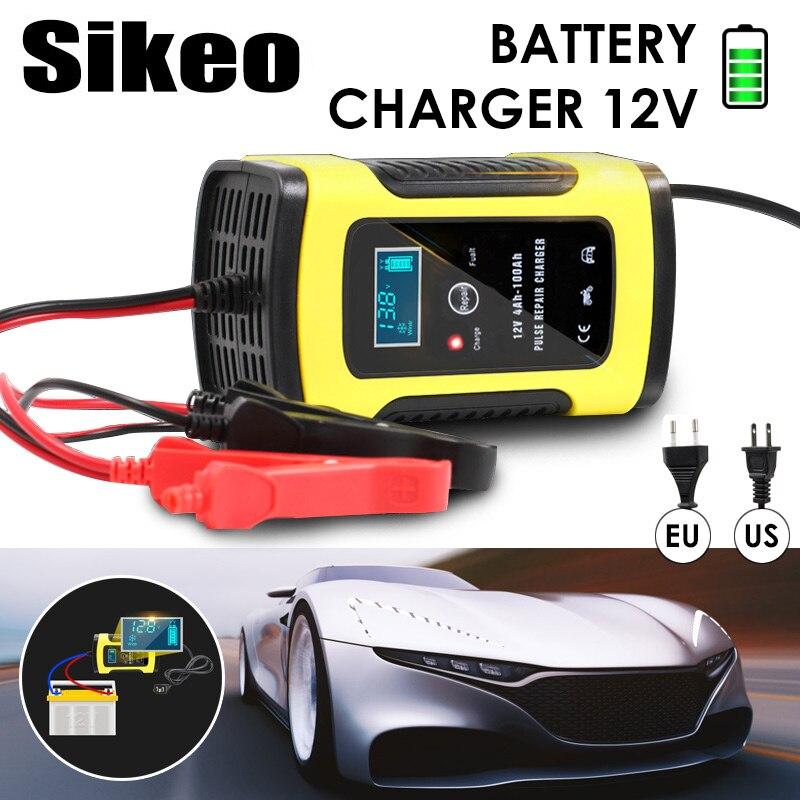 La cargador de batería de coche automático de 110 V a 220 V a 12 V 6A inteligente LCD rápido para Auto de la motocicleta las baterías de plomo-ácido de carga