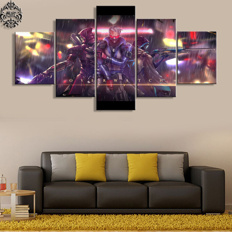 5 Panel Game Poster Overwatch soldier 76 Wall Art Painting Canvas Printed Modern Home Decor For Living Room Artwork Cuadros Солдат