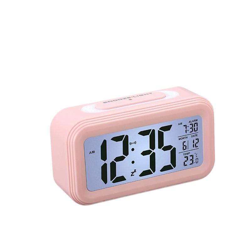 Creative Battery Operated LCD Temperature Display Nightlight Digital Alarm Clock (Pink)