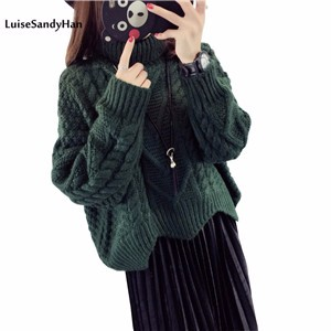Autumn-winter-thick-line-hedging-knitting-twist-loose-plus-size-high-collar-sweater-pullover-long-sleeve