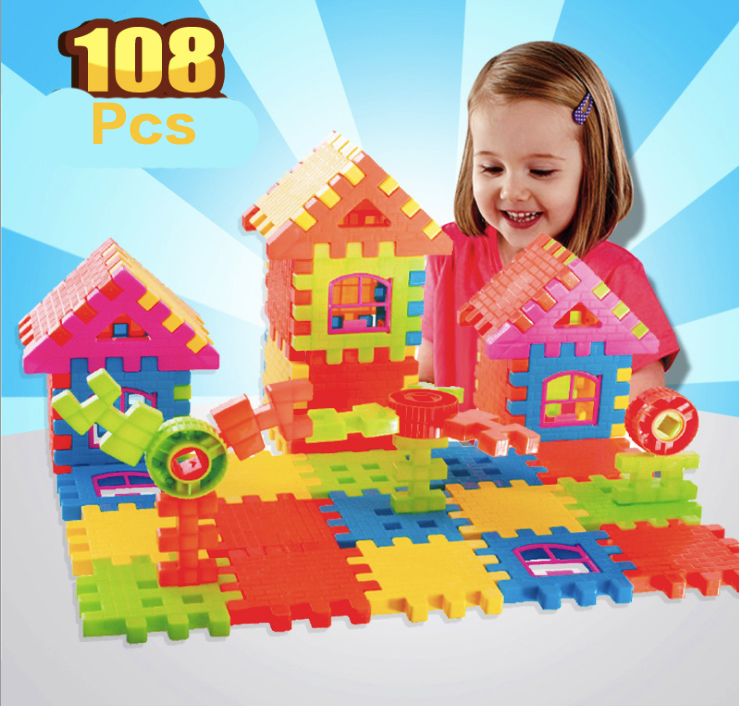 Children's Day Gift 108pcs Blocks Educational Early Education Plastic Toys Large Square House baby gift imported wood color large blocks 1 2 3 6 years old early childhood educational toys