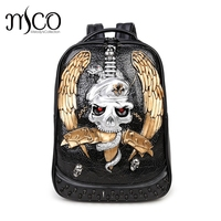 Men Backpack Rivet 3D Skull Sword Embossed Shoulder double back Bag Travel Restore Halloween Cool alligator Leather laptop Bags
