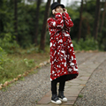 Johnature Женщины Шерстяное Пальто 2016 Зима Новый Китайский Стиль Сладкий Старинные Сочетает Свободные Толстая Повседневная Цветочные Высокое Качество Шерсти Пальто