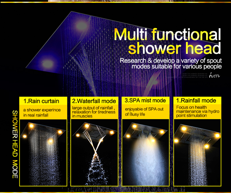 Luxury Led Rain Shower Head Large Rain LED Shower Set with Waterfall Shower Head with Embedded Ceiling 600x800 Rainfall Spout (10)