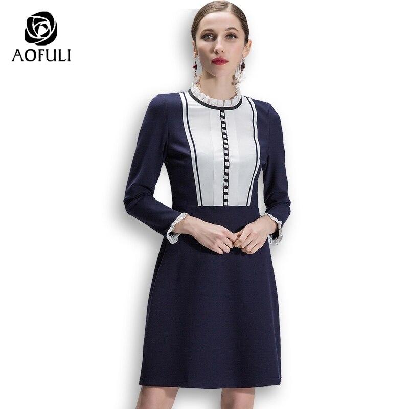 AOFULI Spring Hit Color Patchwork Dress Women Big Size Long Sleeve Pencil Dress Contrast Blue White